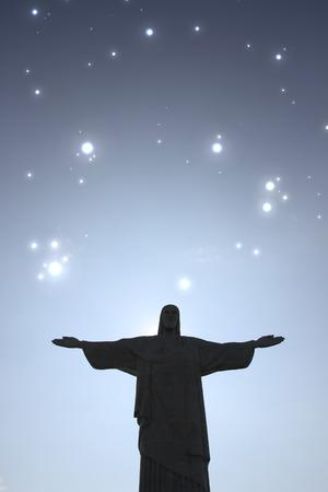 christus: Stars over the Cristo Redentor in Rio de Janeiro, Brazil.