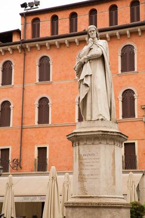 dante alighieri: The Dante Alighieri statue in the center of Verona, Italy. Stock Photo