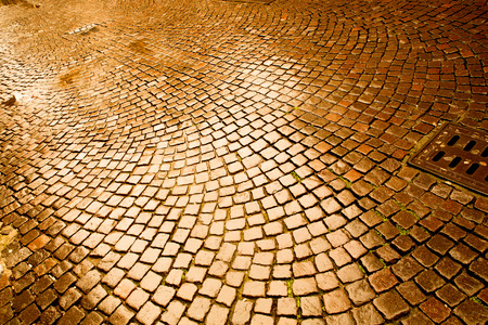 pebblestone: A ancient cobblestone pavement in Verona, Italy.