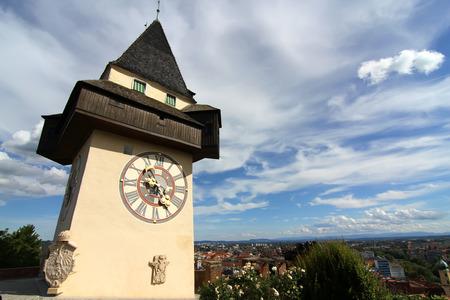 steiermark: The famous Uhrturm (clock tower) in Graz (Grace), Austria, Styria, Europe.