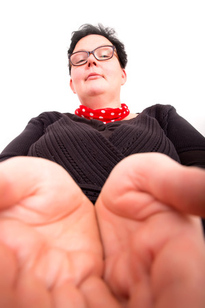 become: A overweight woman holding her hands open.