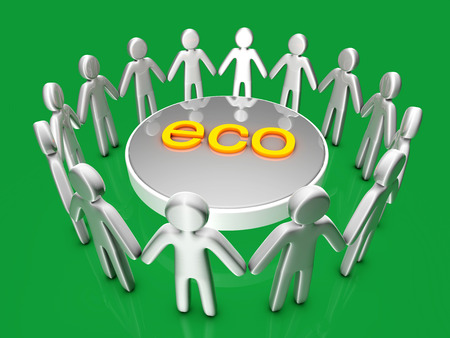 Ecology. A group of icon people standing in a circle. photo