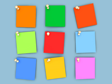 Pinned paper notes in various colors. 3D rendered Illustration. illustration