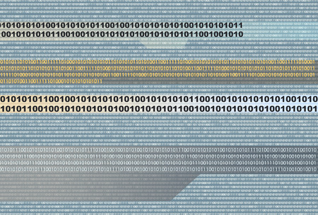 A binary background showing flowing bits.