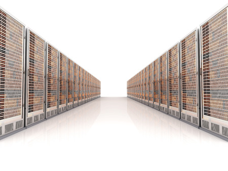 Server racks in a row. 3d illustration. illustration