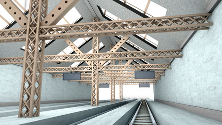 3D rendered interior visualization of a amply antique train station. Stock Photo