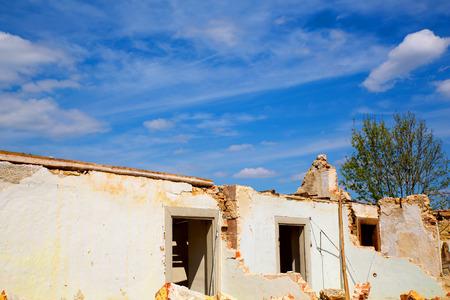 demolished house: A Ruin of a demolished house.