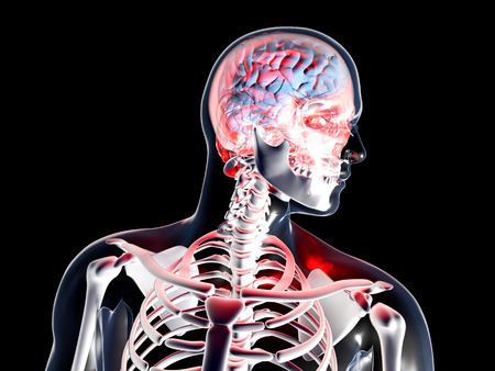 neurosis: Headache and depression. 3D rendered illustration. Isolated on black. Stock Photo