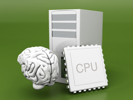 compatibility: Artificial Intelligence Symbol. 3D rendered Illustration. Gray background.  Stock Photo