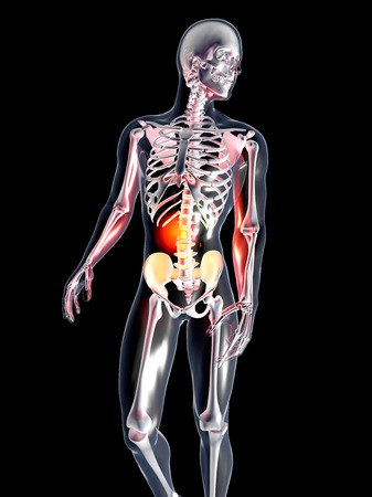 autopsy: A hurting stomach  3D rendered illustration  Isolated on black
