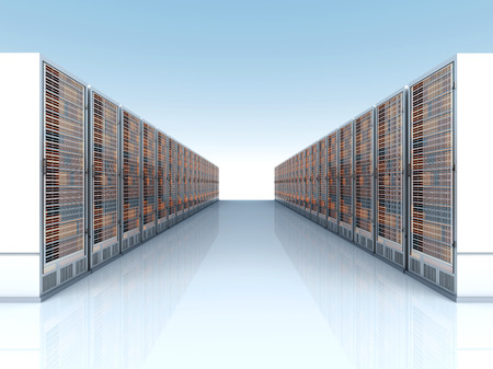 Server racks in a row  3d illustration  illustration