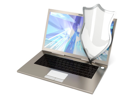 A protected laptop. Isolated on white. 3D rendered illustration. illustration