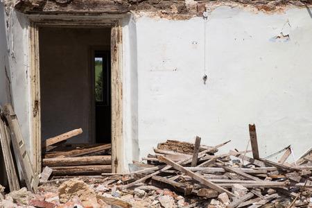 demolished house: Door into a demolished house. Stock Photo