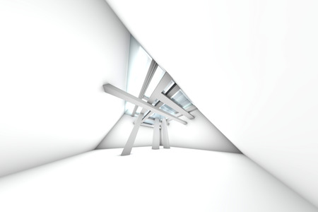 A modern architecture Interior. 3D rendered Illustration.   Stock Photo