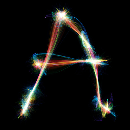 fire letter: Digitally created letter formed out of plasma energy.