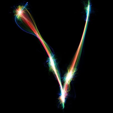 letter v: Digitally created letter formed out of plasma energy.
