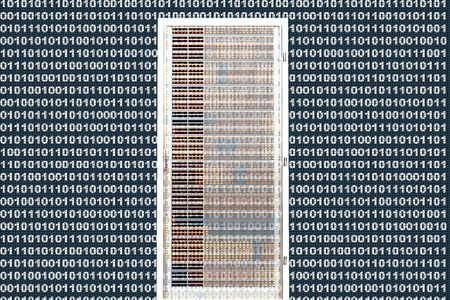 A binary background with a semi-transparent Server towers in front. photo
