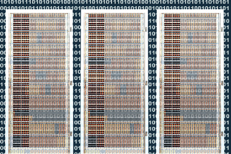 A binary background with three semi-transparent Server towers in front.