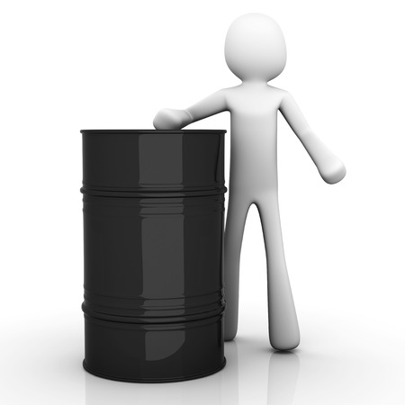 nafta: A cartoon character presenting a oil barrel. 3D Illustration. Isolated on white.