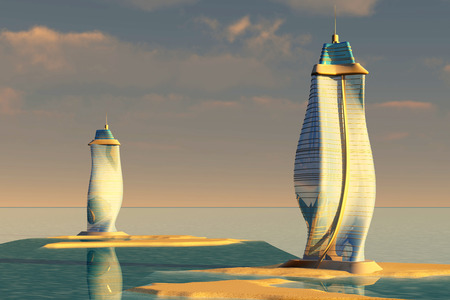 real esate: Modern and futuristic skyscrapers sitting in islands in the sunset. 3D rendered Illustration.