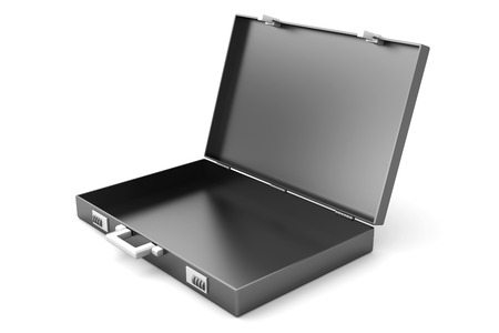 A open Briefcase isolated on white. 3D illustration. illustration