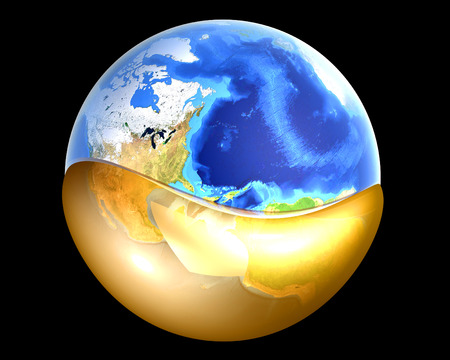 A globe swimming in Oil or Petrol. 3D rendered illustration. illustration