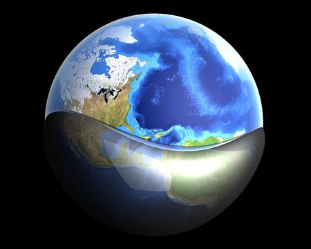 mundo contaminado: Una piscina de globo en aceite o gasolina. 3D representa la ilustraci�n.