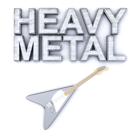 hardrock: The word heavy metal with a generic guitar. 3D rendered Illustration.