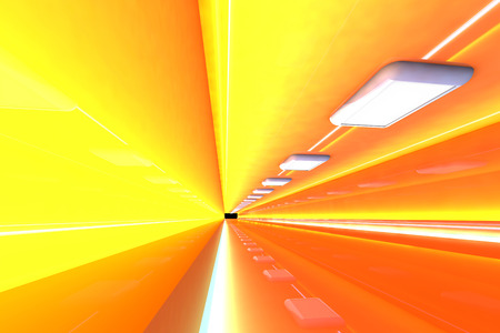 A 3D rendered architecture interior of a tunnel. photo