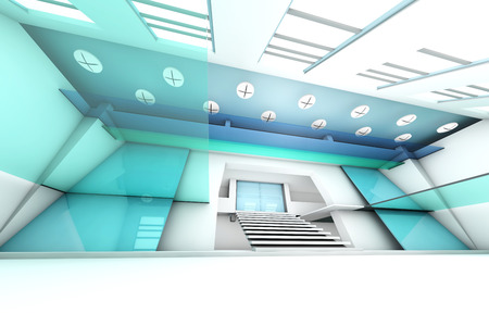 glas: A futuristic entrance hall to a corporate building. 3D rendered Illustration. Stock Photo