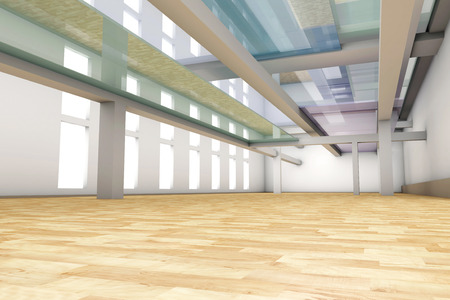 glas 3d: A modern empty Apartment interior. 3D rendered illustration.