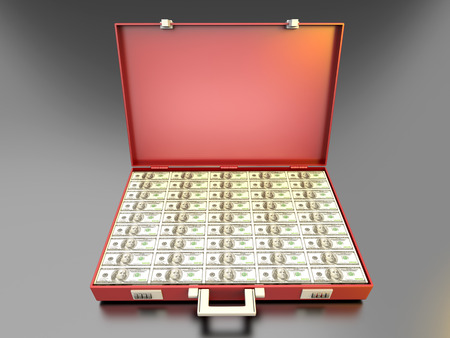 corporate greed: A briefcase full of Cash.