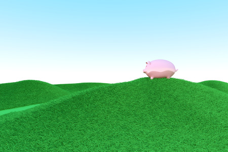 A piggy bank on green hills. Symbol for eco friendly economy. 3D rendered illustration. illustration
