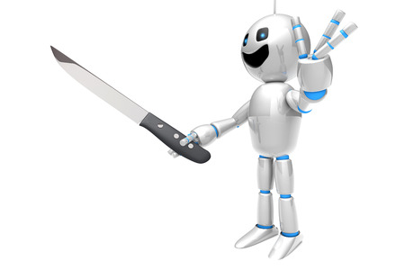 computer science: A cartoon Robot holding a kitchen Knife. 3D rendered Illustration.