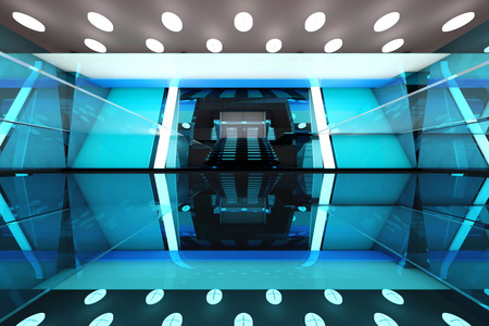 glas 3d: A futuristic entrance hall to a corporate building. 3D rendered Illustration. Stock Photo
