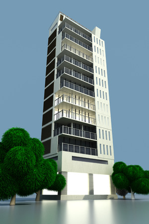 A contemporary modern urban building. 3D Illustration. illustration