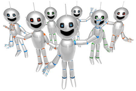 join us: A group of greeting and waving cartoon Robots. 3D rendered Illustration. Stock Photo
