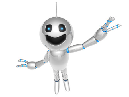 A waving and greeting cartoon Robot. 3D rendered Illustration. illustration