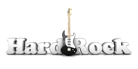hardrock: Hardrock word with a guitar. 3D Illustration.