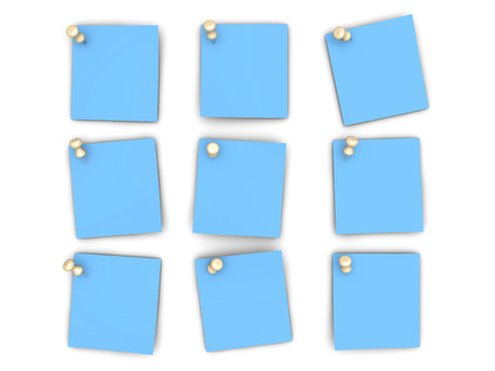 Pinned paper notes. 3D rendered Illustration. Isolated on white. Stock Photo