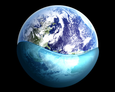 A globe swimming in water. 3D rendered illustration. illustration
