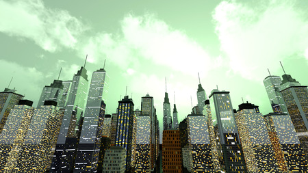 moody: A big generic city under a moody green sky. 3D rendered Illustration.