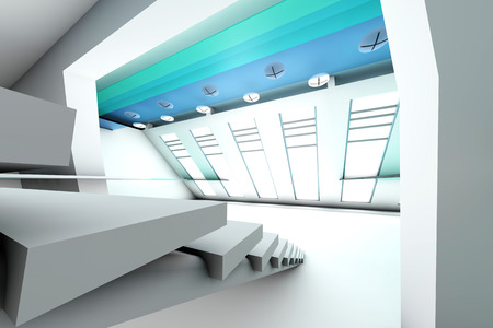 A futuristic entrance hall to a corporate building. 3D rendered Illustration. illustration