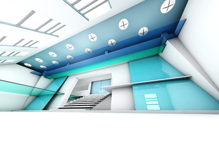 entrance hall: A futuristic entrance hall to a corporate building. 3D rendered Illustration. Stock Photo