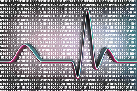 Binary code and a ECG line. 3D rendered Illustration. illustration