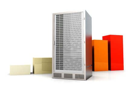 unreachable: Server and bandwidth statistics. 3D rendered Illustration. Isolated on white.