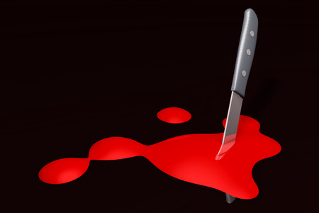carnage: A knife with some blood. 3D rendered Illustration.