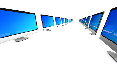 all in one: All in one Computers in a row symbolizing a team. 3d illustration. Isolated on white.