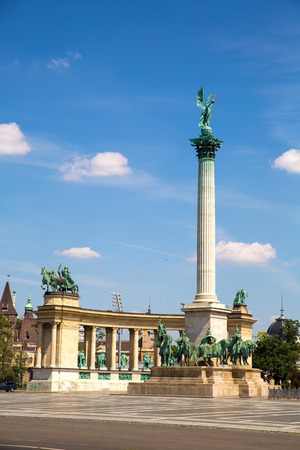 The millenium Monument on the heroes square in Budapest, Hungary, Europe. photo
