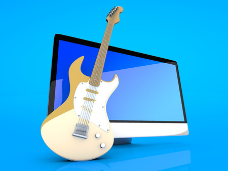 masters of rock: Digital guitar - A All in one computer with a Guitar. 3D illustration.   Stock Photo